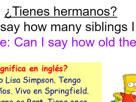 KS3 Year 7 Spanish Mira 1 Module 3 ¿Tienes hermanos? 2 lessons brothers sisters siblings