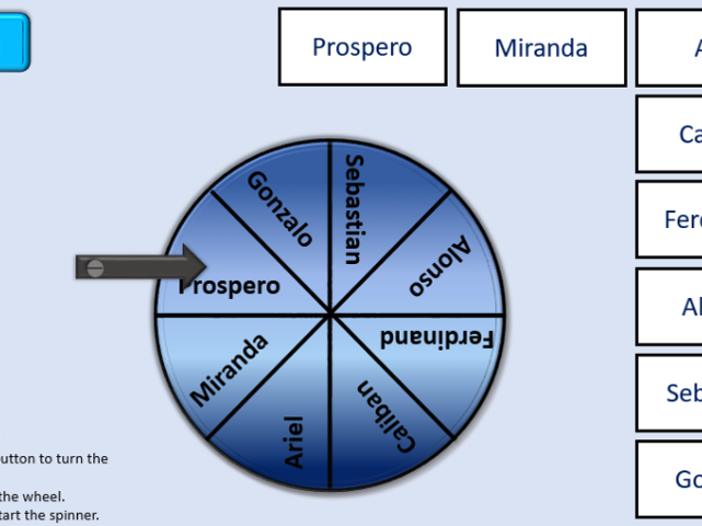 Shakespeare The Tempest Character Spinner revision tool ICT interactive differentiated activities