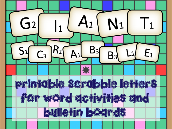 photo about Printable Scrabble Board Pdf called Large Scrabble Letter!