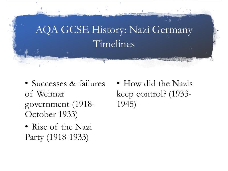 AQA History Nazi Germany. Timelines.
