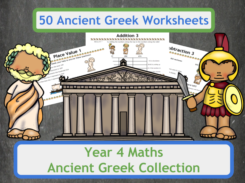 Ancient Greek Themed Maths Worksheets Complete Collection for Year 4 Classes