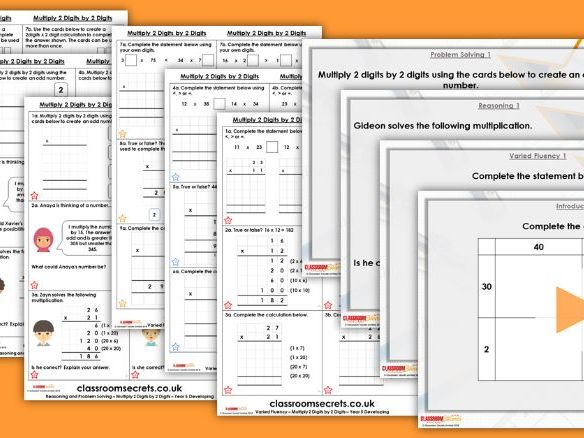 Year 5 Multiply 2 Digits by 2 Digits Spring Block 1 Step 3 Maths Lesson Pack