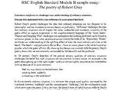 HSC Standard English Module B: Robert Gray Sample Essay and Essay Analysis