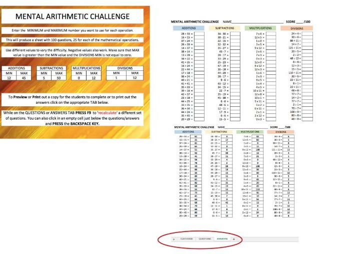 Mental Arithmetic Challenge - Starter Activity - Customisable difficulty- 100 questions with answers