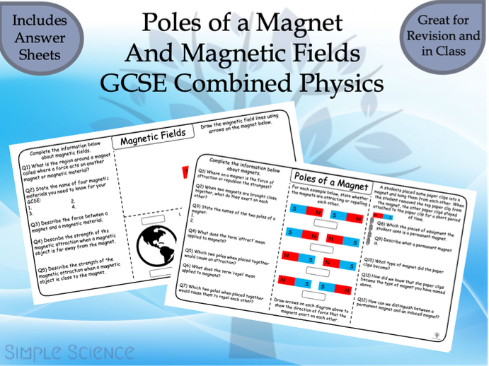 GCSE Physics - Poles of a Magnet and Magnetic Fields Worksheets