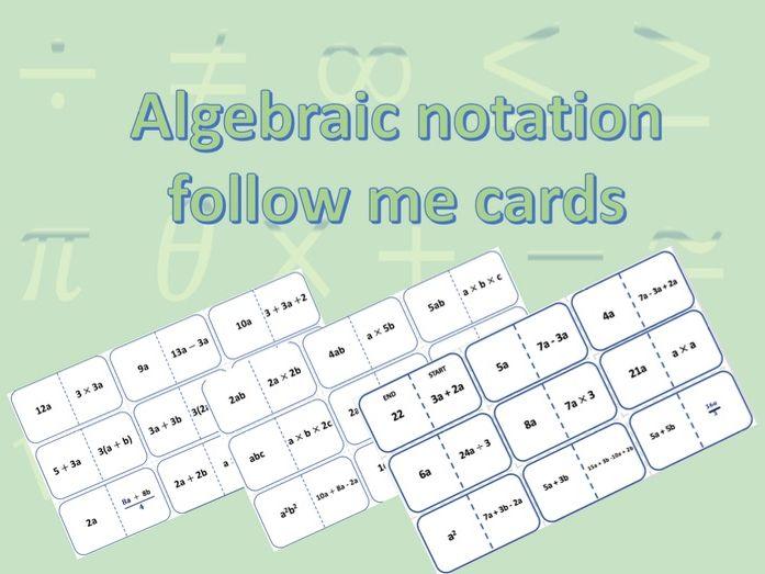 Algebraic notation follow me cards