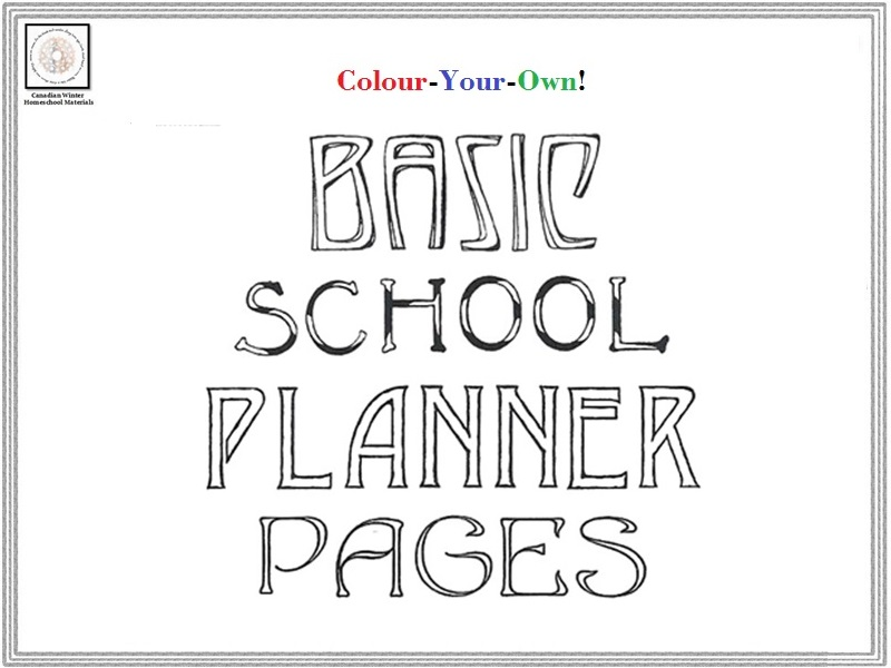 Colour-Your-Own Basic School Planner Pages