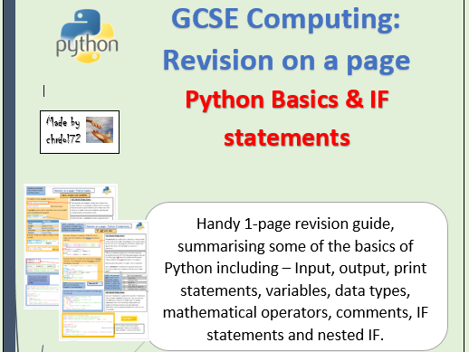 GCSE Computing: Python basics & IF statements - Revision on a page