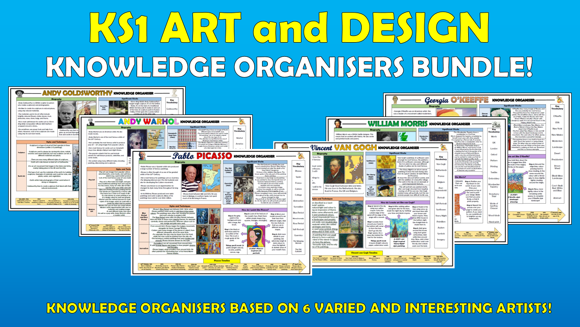 KS1 Art and Design Knowledge Organisers Bundle!