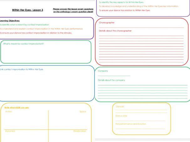 GCSE Dance Anthology Worksheets