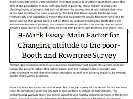 History: Booth and Rowntree 9-mark essay