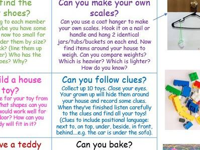 EYFS maths shape space and measure home learning early years