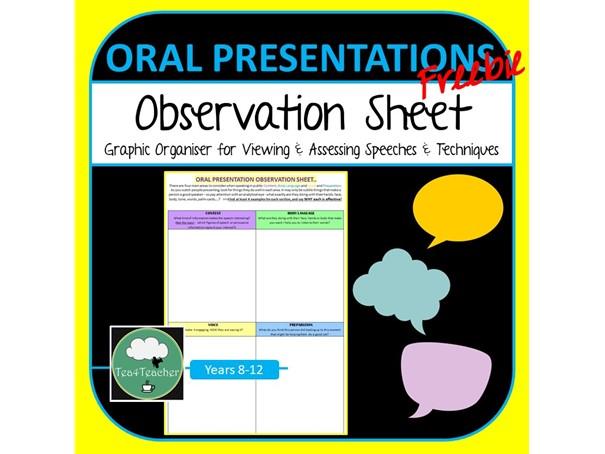 Oral Presentation Skills Observation Sheet