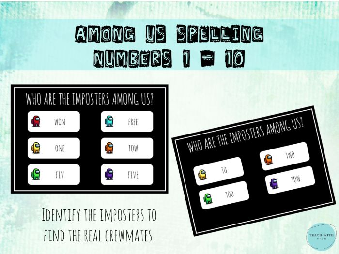 Among Us Numbers 1-10 Spelling Activity / Puzzle