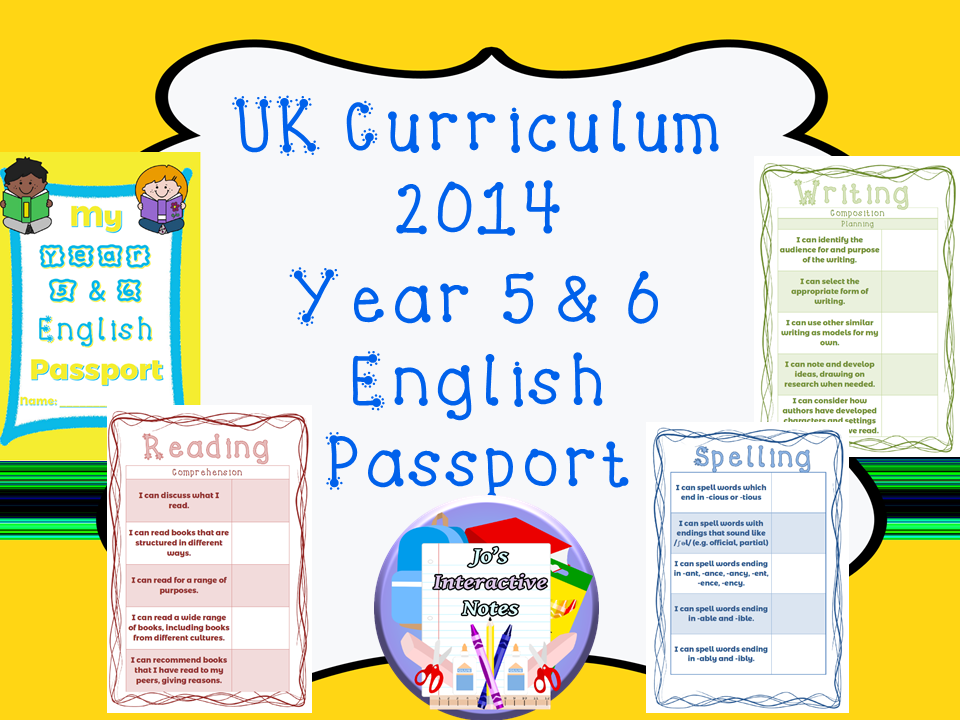 Upper Key Stage 2 (Year 5 & 6) National Curriculum 2014 English Passport