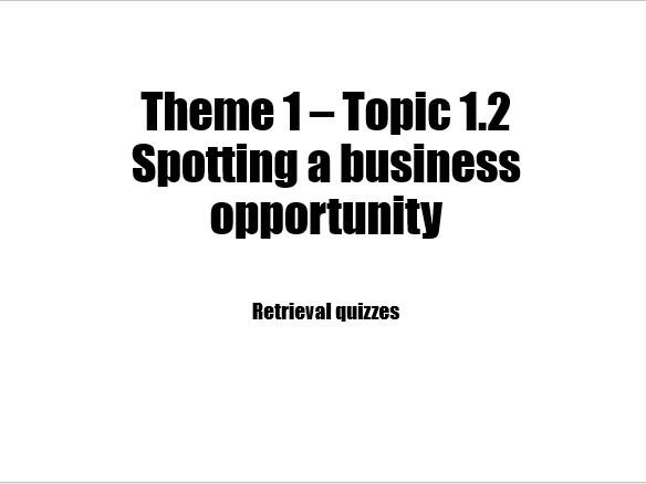 Edexcel Business 9-1 Retrieval quiz 1.2