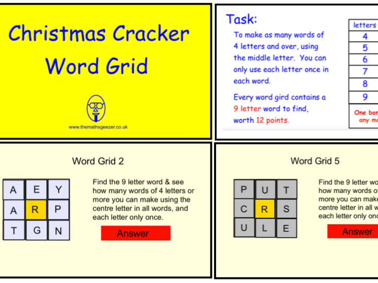 Christmas Cracker Word Grid (SmartBoard version)