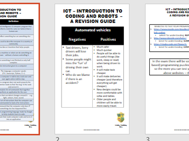 EAL - Intro to coding, robots and AI - Revision Guide