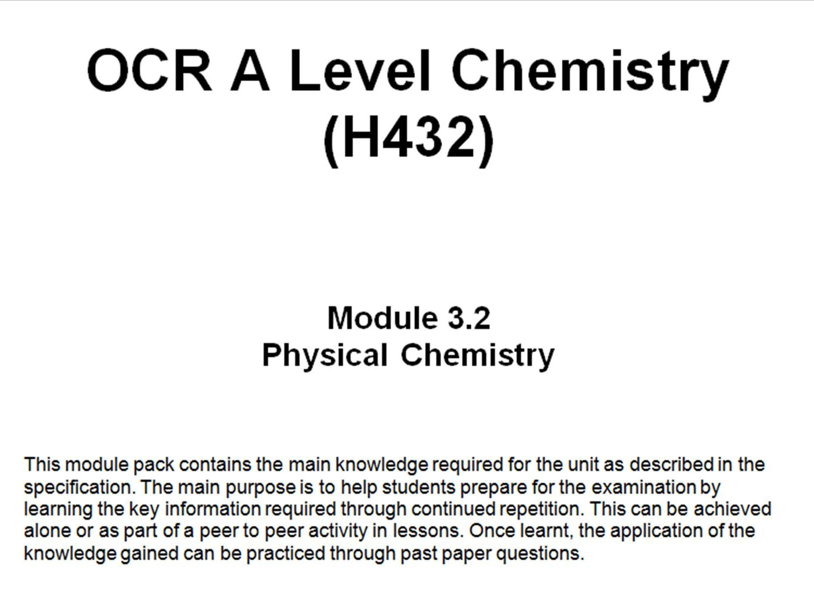 OCR A Level Chemistry (H432) - Complete Module 3 Knowledge pack