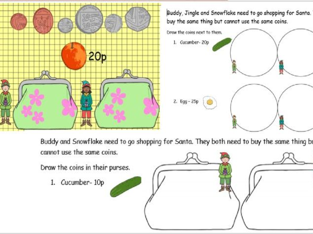 Making the same amounts with different coins Y2- Christmas themed