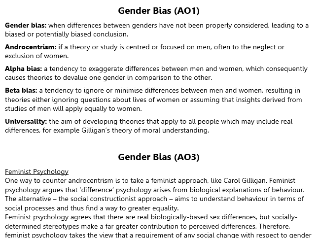 Gender Bias Revision (A2 Psychology)