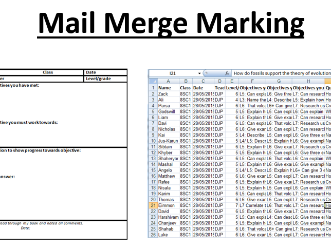 Mail merge marking guide/instructions and template