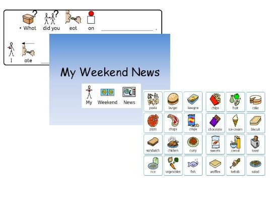 My Weekend News widgit Symbolised- ppt, Questions, answers for SLD Learners
