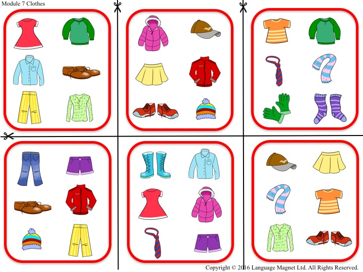 Spanish Clothes Bingo Game