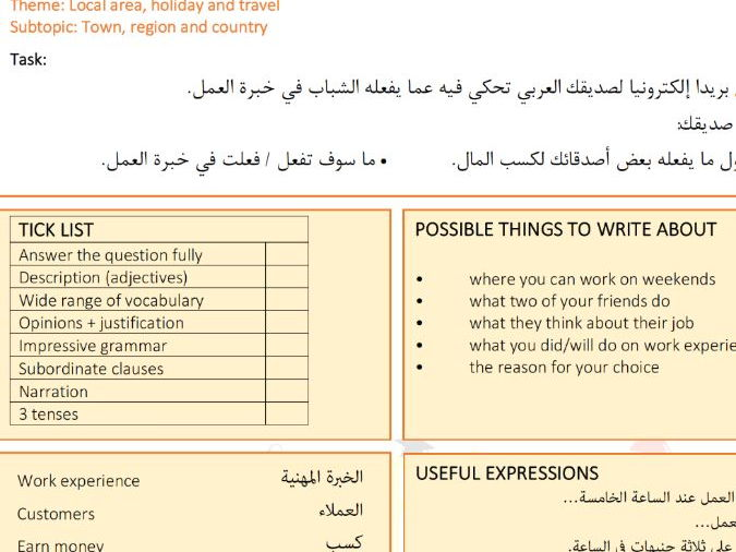 Writing Worksheets for the New GCSE Arabic - part 2