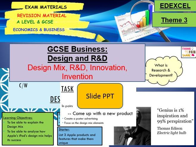 Design and Research and Development (R&D): GCSE Business