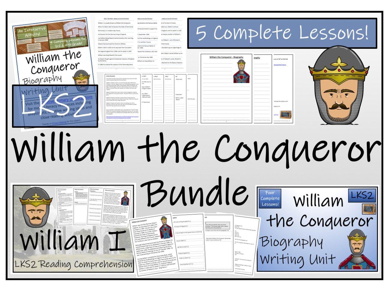 LKS2 History - William the Conqueror Reading Comprehension & Biography Bundle