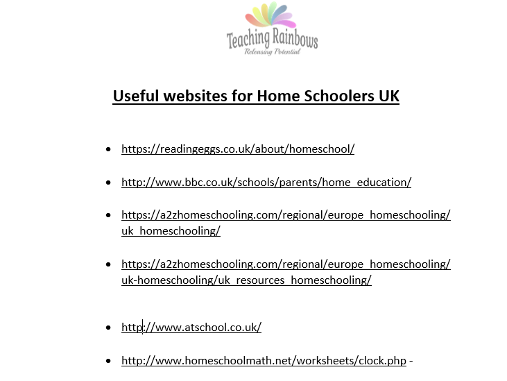 Useful Websites for Home Schoolers
