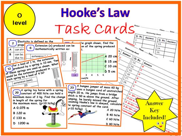 Hooke's Law-Task cards