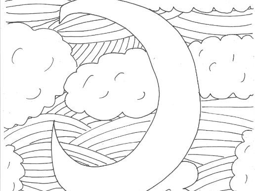 Night Time and Sweet Dreams Colouring Page