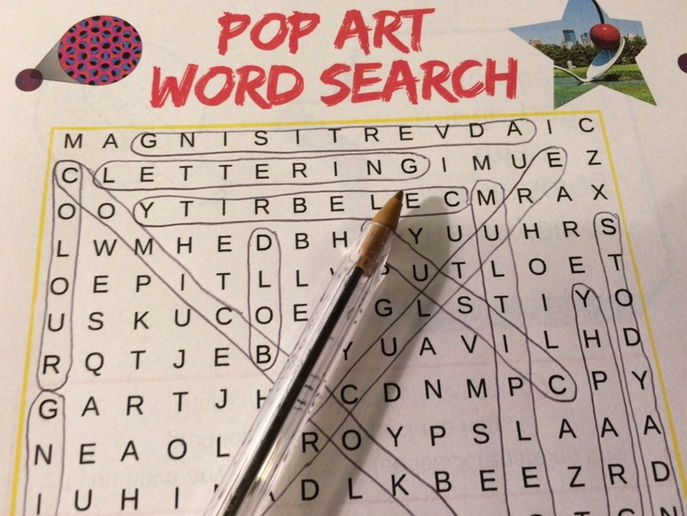 Pop Art Word Search - lesson starter, plenary, cover, literacy task, homework, extension wordsearch
