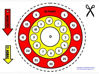 CUT-OUT CLOCK for telling the time in Spanish (primary level, children)