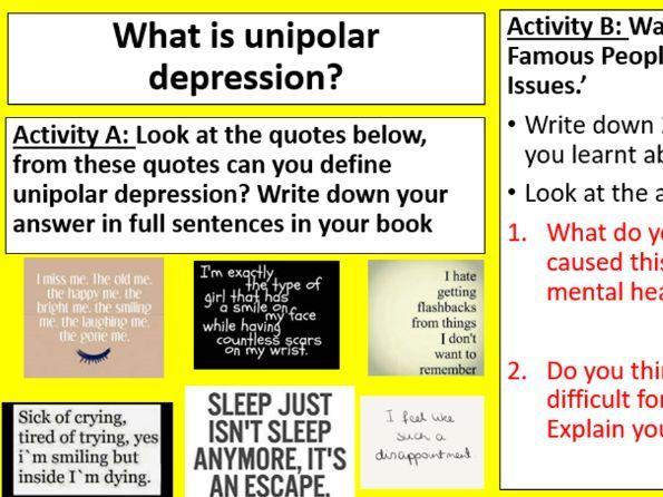 GCSE Edexcel Psychology (9-1): Topic 3: Psychological problems, Lesson 1:What is depression?
