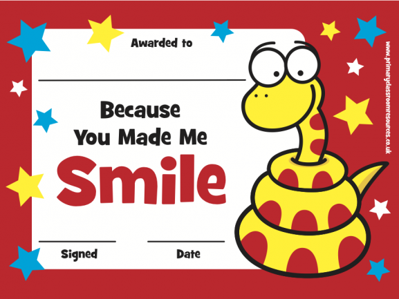 You Made Me Smile Certificate