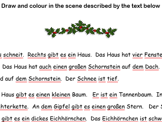 German fun Christmas learning activity with low teacher input.