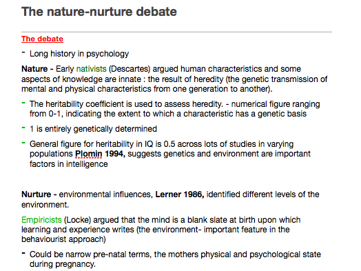 Psychology A level AQA - Issues and debates