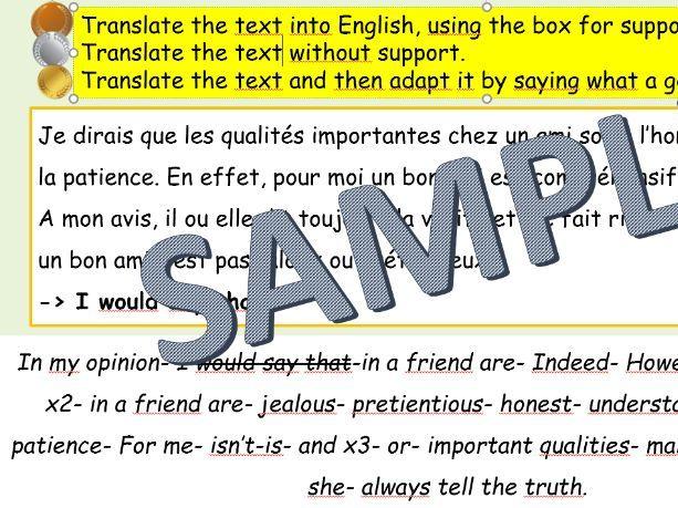 Studio AQA GCSE French Module 1 Qui suis-je? Unit 1- A comme amitié - Foundation Higher