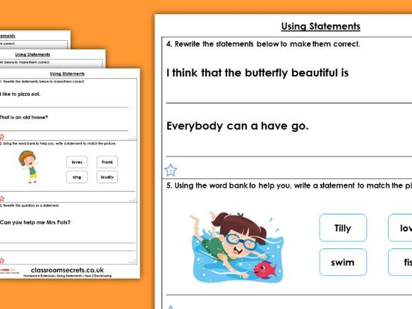 Grammar Year 2 Using Statements Spring Block 3 Homework Extension