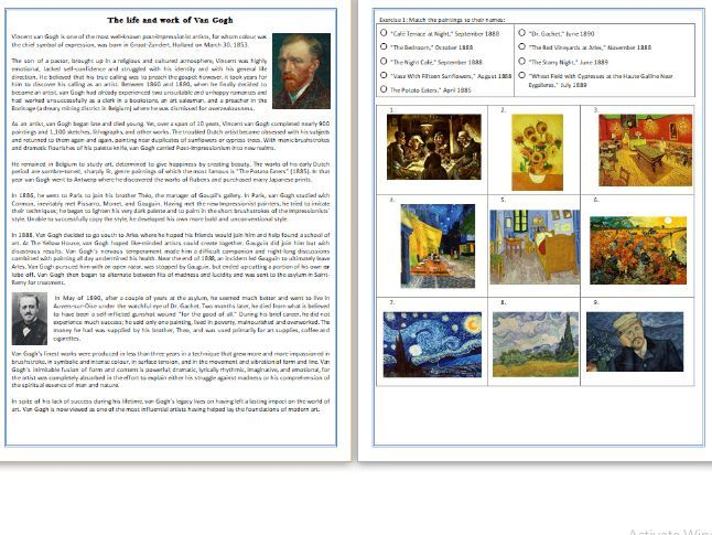 The life and work of Vincent Van Gogh - Reading Comprehension - Informational Text / Biography