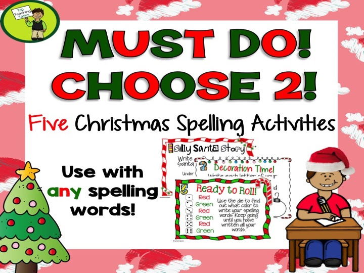 5 Christmas Spelling Activity Task Cards and Print and Go Student Worksheets