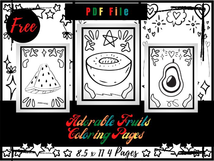 FREE Adorable Fruits Colouring Pages, Free Printable Colouring Sheets PDF
