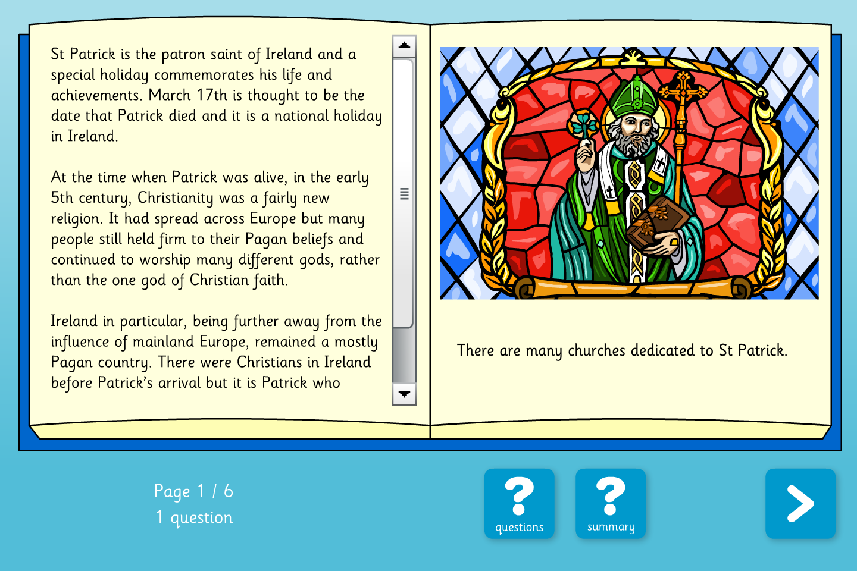 St Patrick Interactive Information Book - Reading Level B - St Patrick's Day KS2