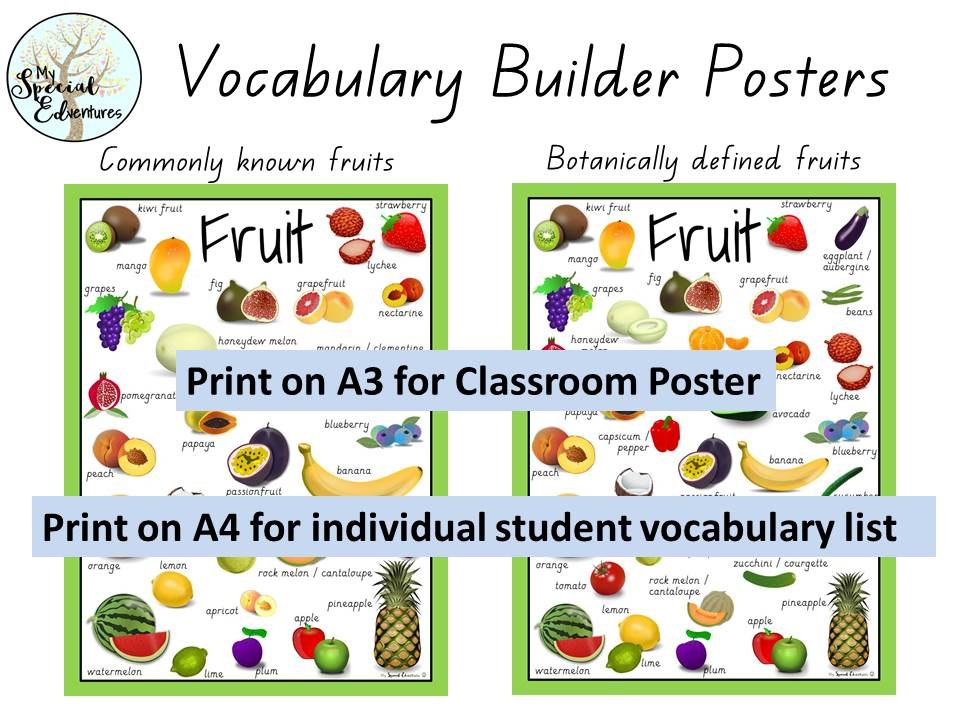Vocabulary Builder-Fruit & Vegetable Posters