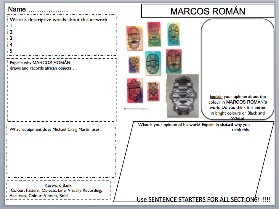 MARCOS ROMÁN Art Annotation / Planning sheet
