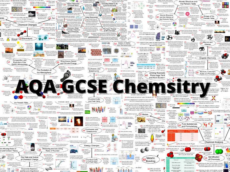 COMPLETE SET OF REVISION MINDMAPS - AQA GCSE CHEMISTRY HIGHER TIER TREBLES!