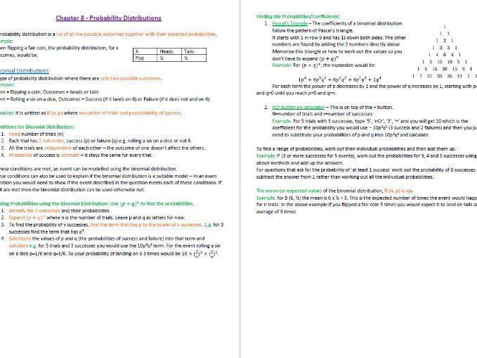 Probability Distributions Revision Notes (GCSE Statistics)